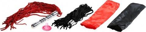 Анальная втулка с двумя сменными плетками (черная + красная), фото 3