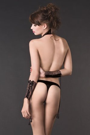Завязка на шею с подвязкой к трусикам villa satine harnais noir s/36/4/6-8