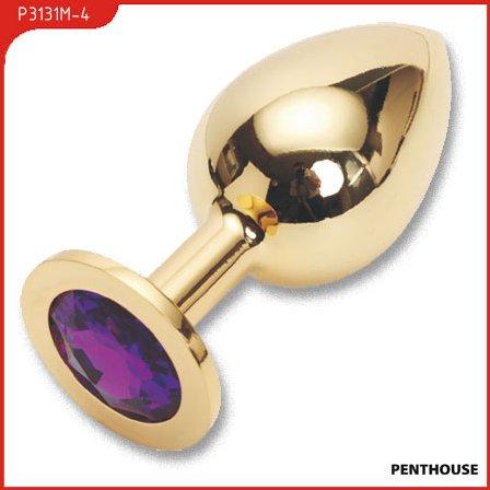 Пробка с фиолетовым кристаллом, большая, золотая, 40 х90 мм