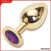 Пробка с фиолетовым кристаллом, большая, золотая, 40 х90 мм - Секс-шоп Мир Оргазма