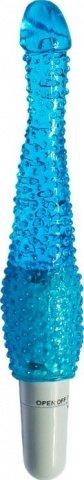 Вибратор анальный, с пупырышками, гелевый, синий, 28 х220 мм 22 см