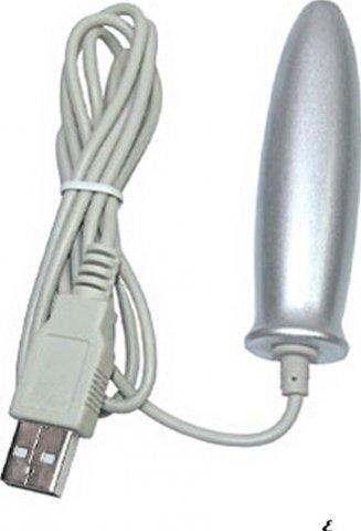 Стимулятор для простаты, греющий, с USB входом, серебряный, 20 х80 мм