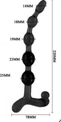 Цепочка анальная Wendy, черная, 23 х200 мм, фото 5