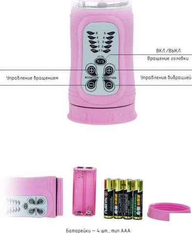 Виброкомпьютер с подвижной головкой и двойной ротацией, 5 видов вибрации, розовый, 37 х255 мм, фото 5