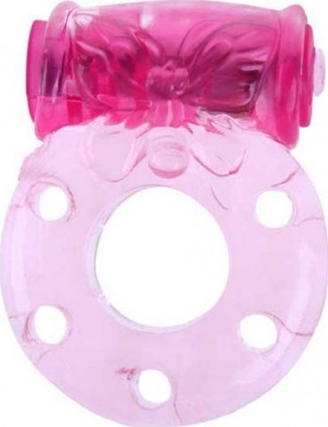 Кольцо Бабочка с мини-вибратором, розовое, 18 х40 мм