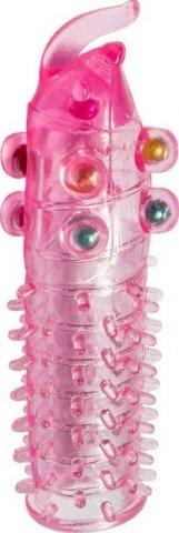 Насадка с бусинками, гелевая, розовая, 45 х150 мм