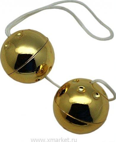 Шарики золотые, 2 штуки, диаметр 30 мм