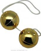 Шарики золотые, 2 штуки, диаметр 30 мм - Секс шоп Мир Оргазма