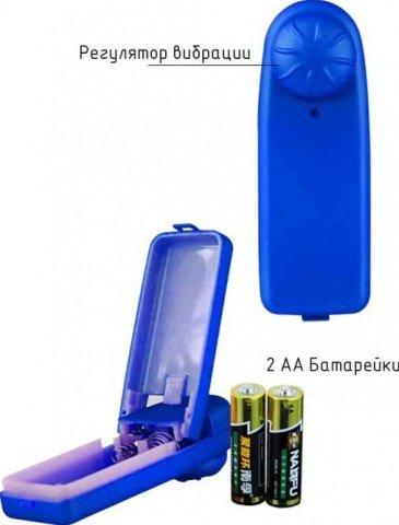 Виброяйцо Ночная Фея, ребристое, синее, 35 х95 мм, фото 2