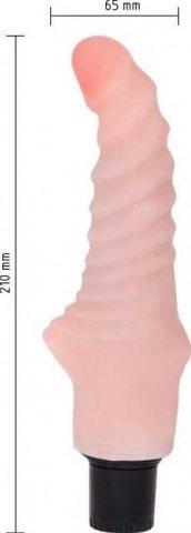 Вибратор, ребристый, реалистик, розовый, 30 х215 мм 21 см, фото 3