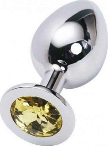 Пробка с желтым кристаллом, большая, серебряная, 40 х90 мм