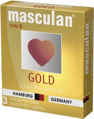 Презервативы Masculan 5 Ultra, 3 шт Золотого цвета ШТ, фото 2