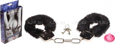 Наручники с мехом bondage черные 1010-01lola, фото 2