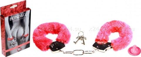 Наручники с мехом bondage красные 1010-02lola, фото 2