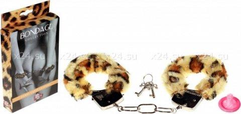 Наручники с мехом bondage леопардовыее 1010-04lola, фото 2