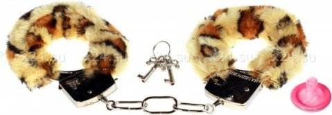 Наручники с мехом bondage леопардовыее 1010-04lola