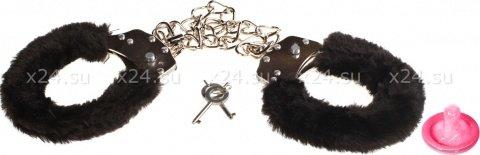 Меховые оковы на ноги bondage черные 1020-01lola