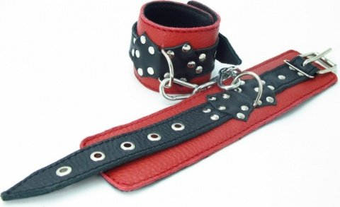 Наручники из красно-черной кожи с пряжкой, фото 2
