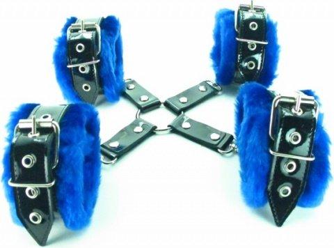 набор фиксаторов краб с синим мехом bdsm light, фото 2