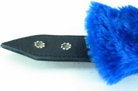 синие наручники с мехом bdsm light, фото 3