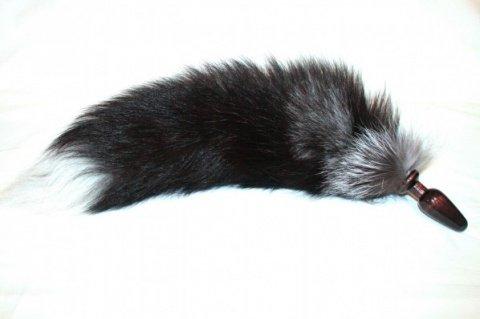 Анальная пробка черного цвета диам. 32 мм с лисьим хвостом чернобурка BF32black/silver fox