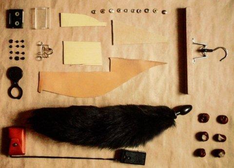 Анальная пробка черного цвета диам. 40 мм с черным лисьим хвостом BF40black/black