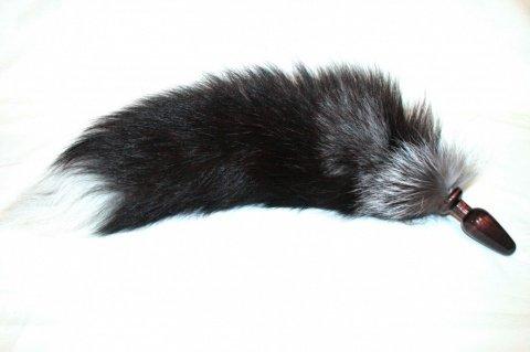 Анальная пробка черного цвета диам. 60 мм с лисьим хвостом чернобурка BF60black/silver fox