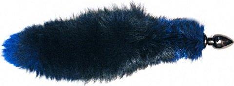 Анальная пробка черного цвета диам. 60 мм с синим лисьим хвостом BF60black/blue