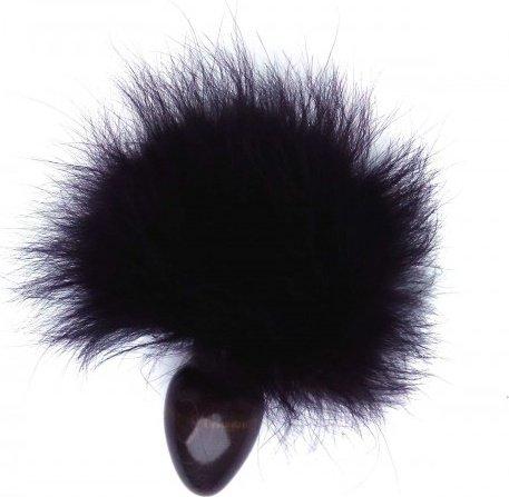 Анальная пробка с чёрным заячьим хвостом 40 мм HT40black/black