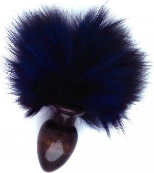 Анальная пробка с синим заячьим хвостом 32 мм HT32black/blue