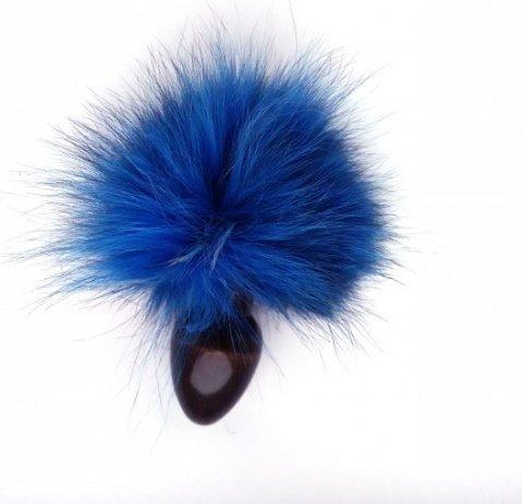 Анальная пробка с голубым заячьим хвостом 32 мм HT32black/skyblue