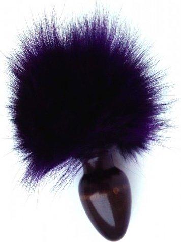 Анальная пробка с фиолетовым заячьим хвостом 32 мм HT32black/purple