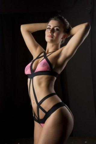 Боди Розовая кокетка черно-розовое-OS