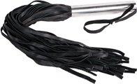 Плеть кожаная с металлической рукоятью Leather Whip Metal черная, фото 2