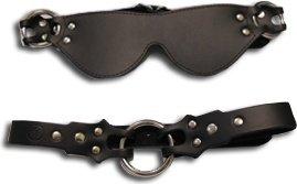 Маска + кляп-рамка Eye mask &amp ring gag кожаная черная, фото 2