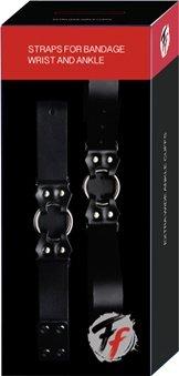 Бандаж руки и ноги Straps for bandage wrist and ancle кожаный черный 28 см, фото 2