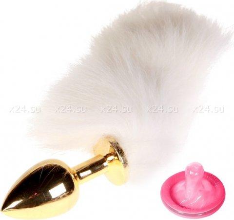Малая золотая пробочка с белым пушистым хвостиком Domination &amp