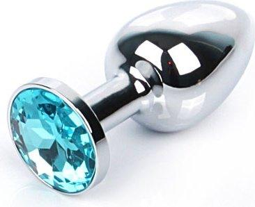 Silver plug small (металл.) цвет кристалла голубой, фото 2