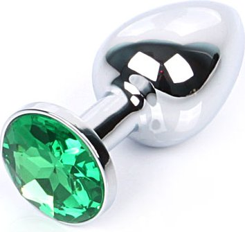 Silver plug small (металл.) цвет кристалла зелёный, фото 2