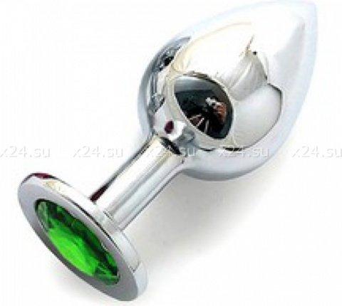 Silver plug large (металл.) цвет кристалла зелёный