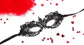 Чёрная ажурная маска на завязочках - Секс шоп Мир Оргазма