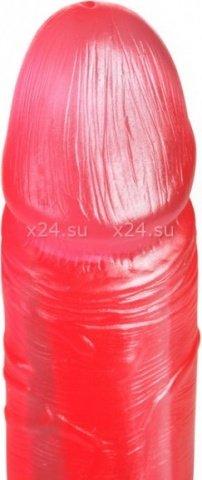 Фаллоимитатор на присоске, с мошонкой, гель, малиновый, 43 х167 мм 16 см, фото 3