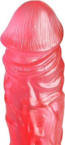 Фаллоимитатор на присоске, с рельефной поверхностью, малиновый, гель, 43 х200 мм 20 см, фото 3