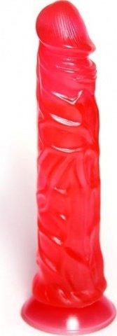 Фаллоимитатор на присоске, с рельефной поверхностью, малиновый, гель, 43 х200 мм 20 см, фото 4