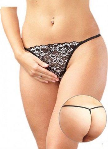 Стринги женские с доступом кружевные, черно-белые, размер