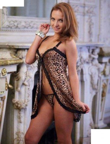 Пеньюар + стринги, леопардовый, размер 44