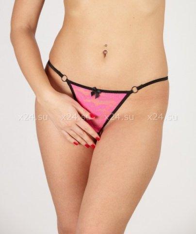Розовые кружевные стринги с разрезом в интимном месте L, фото 3