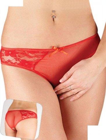 Слипы с доступом, ткань + кружево, красные, размер 44