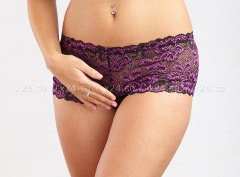 Черно-фиолетовые кружевные шортики М