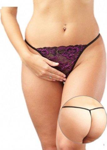 Стринги женские с доступом кружевные, черно-фиолетовые, размер